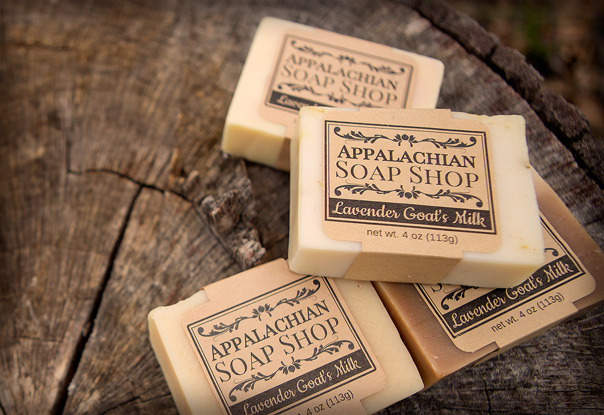 Brown kraft labels on homemade soap.
